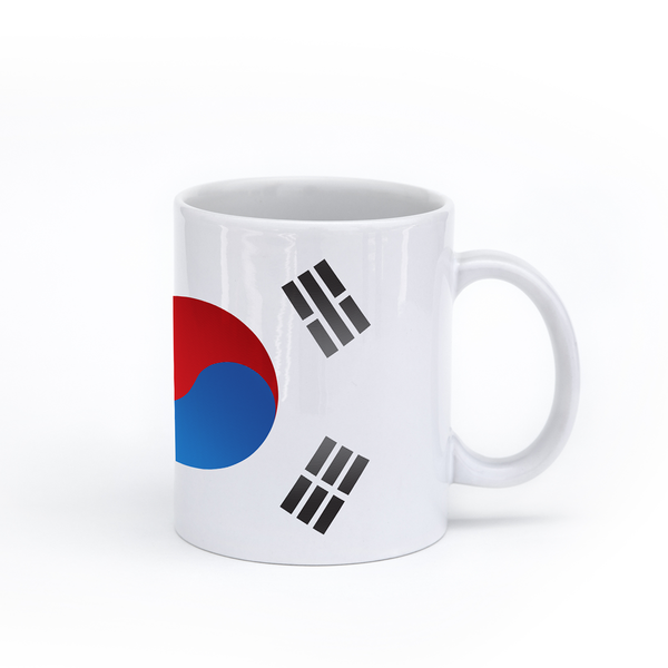graphic image of the flag of South Korea on a coffee mug  presented by Star Showroom