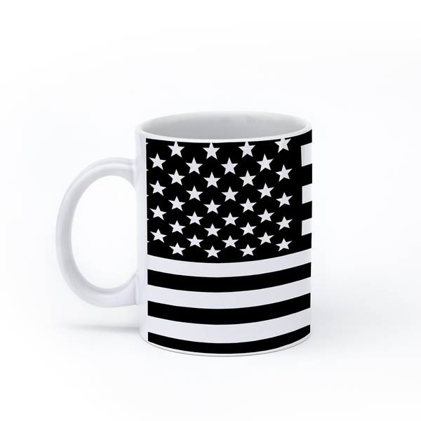 graphic image of a black and white flag of the United States of America on a coffee mug  presented by Star Showroom
