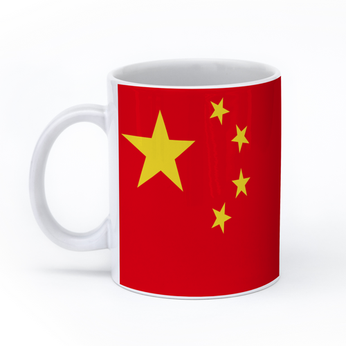 graphic image of the flag of China on a coffee mug  presented by Star Showroom