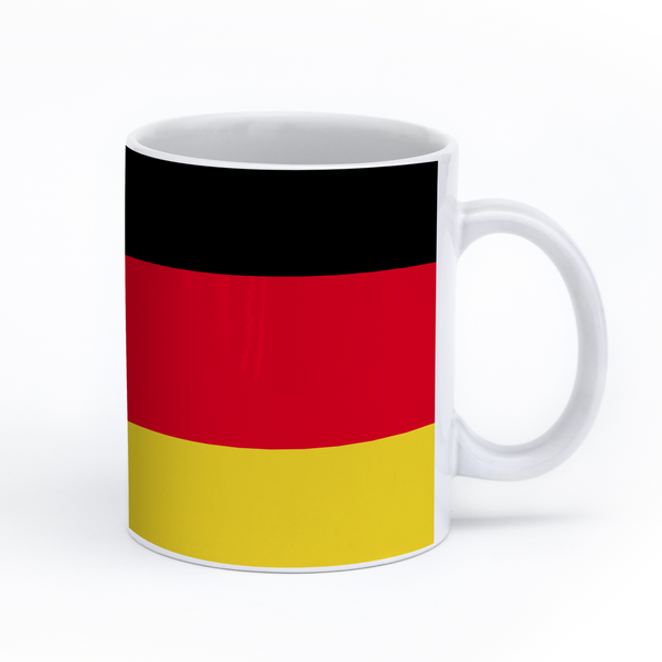 graphic image of the flag of Germany on a coffee mug  presented by Star Showroom