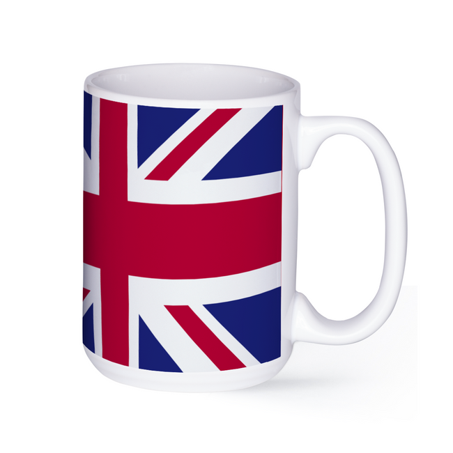 graphic image of the flag of the United Kingdom on a coffee mug  presented by Star Showroom