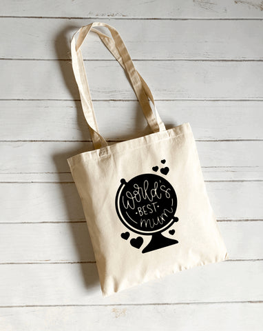World's best mum canvas tote bag
