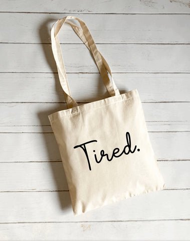 Tired canvas tote bag
