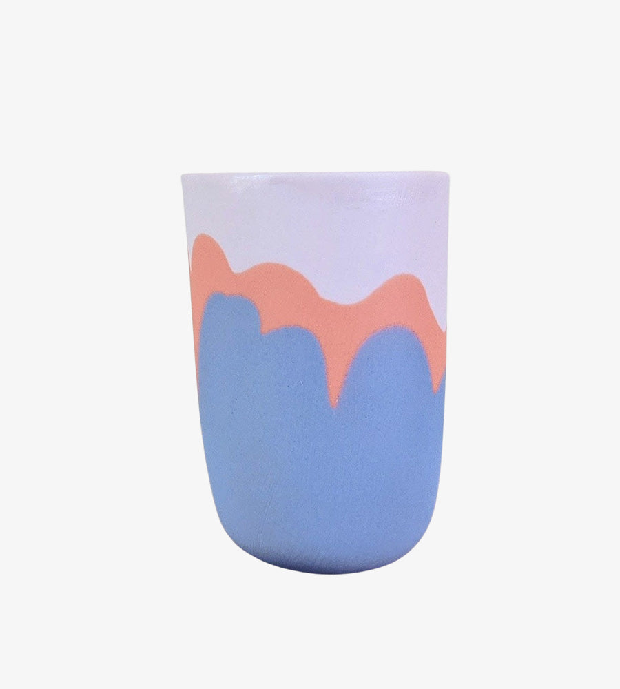 Tasse porcelaine bleu orange Yaël Germain Vue 2