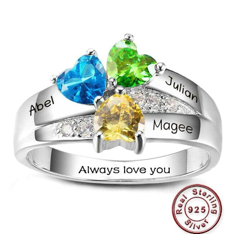Customize Beautiful Heart Cluster Birthstone Ring 925 Sterling Silver Ring DIY Personalized Family Name Ring Engrave Three Names Rings For Women Christmas Gift