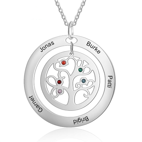 Personalized Tree of Life Necklace with Birthstone Stainless Steel Name Engraved Pendant Family Gift for Mother Grandma