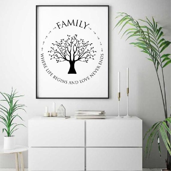 Family Quotes Wall Art Canvas Painting Where Life Begins And Love Never Ends Family Tree Poster Prints Living Room Wall Decor