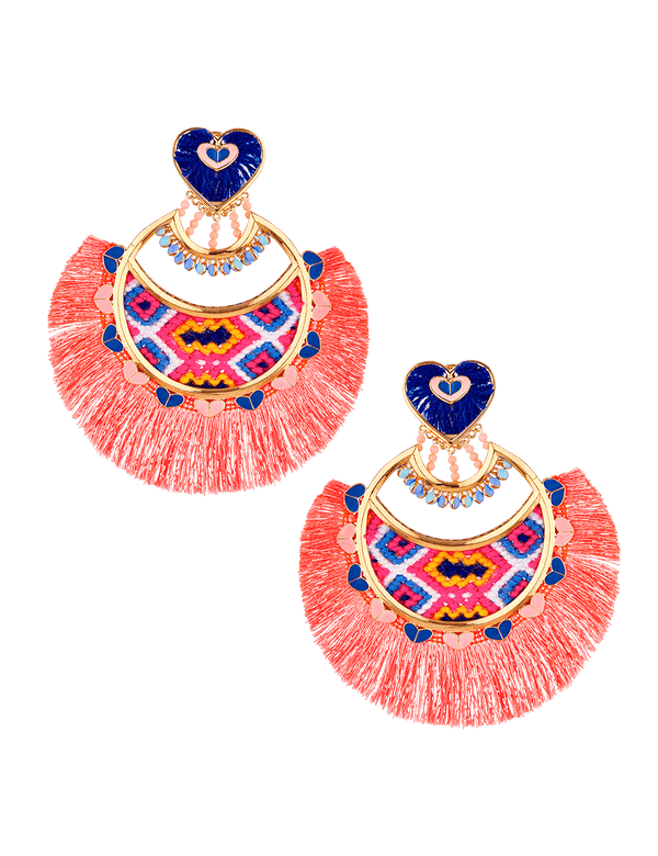 Designer bohemian earrings in pink