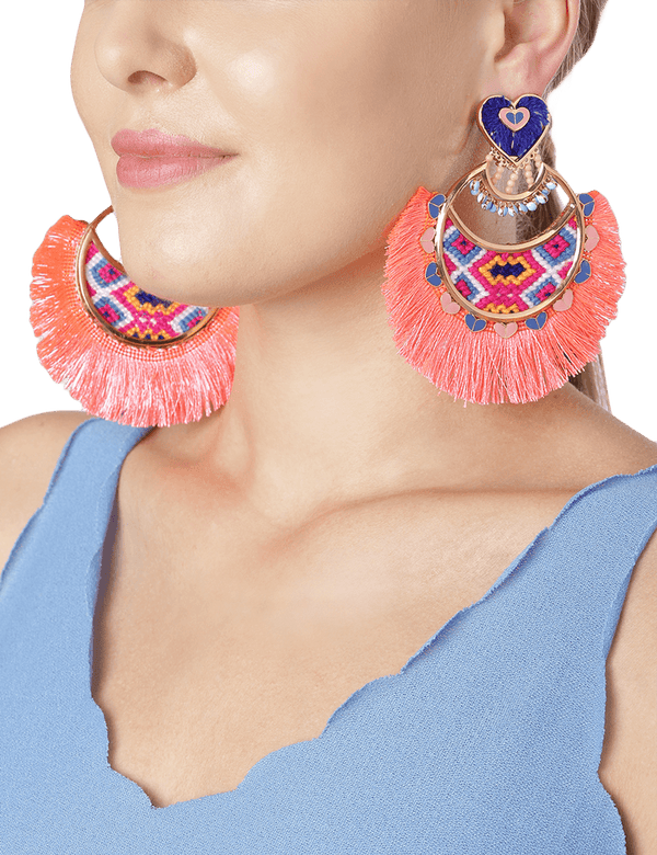Bohemian earrings in peach