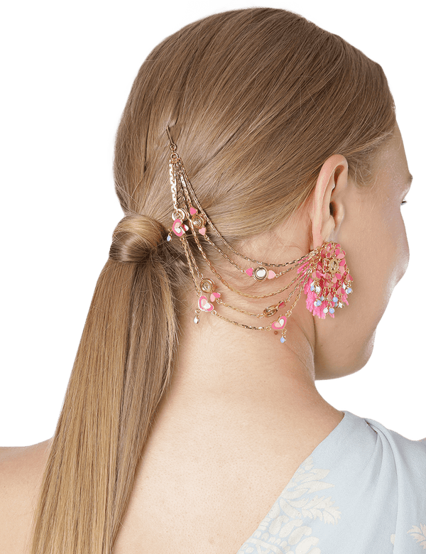 Bouquet hair connecting earrings