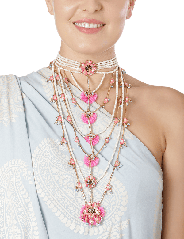 Bridal Long Choker Necklace Women Floral Neon Pink.png