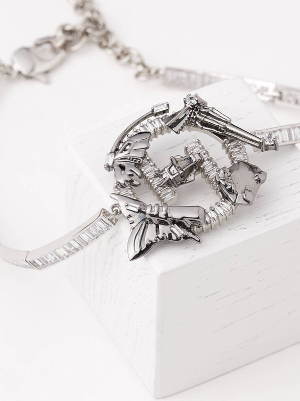 Silver choker necklace for women