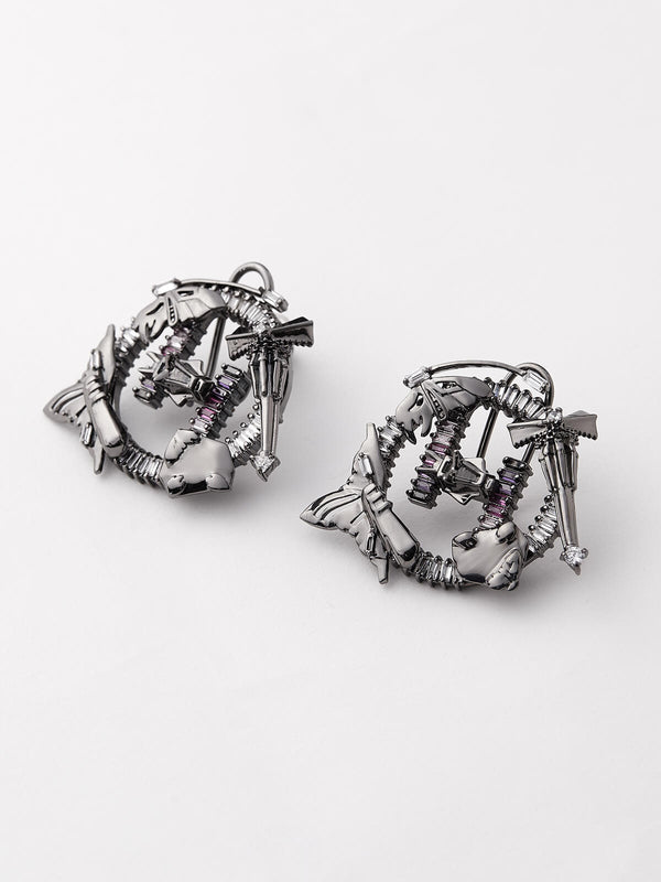 Stud earrings in gunmetal