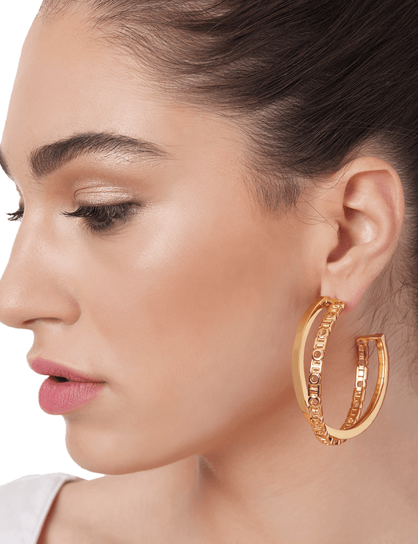 Designer hoop earrings in gold