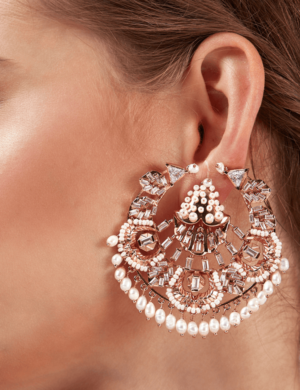 Designer stud rose gold earrings
