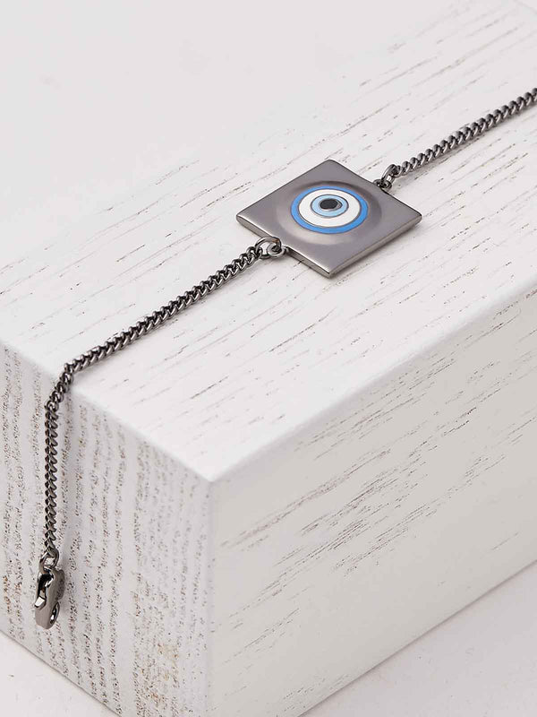Evil eye bracelet in gunmetal