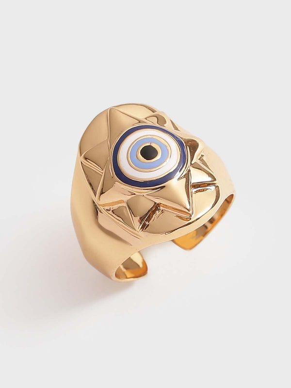 Evil eye ring in gold