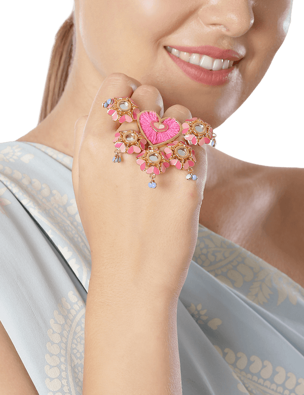 Floral pink ring for women