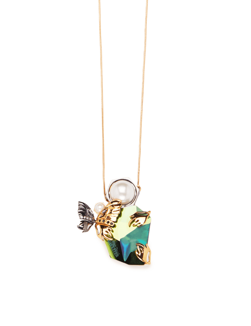 Butterfly pendant necklace in gold plating