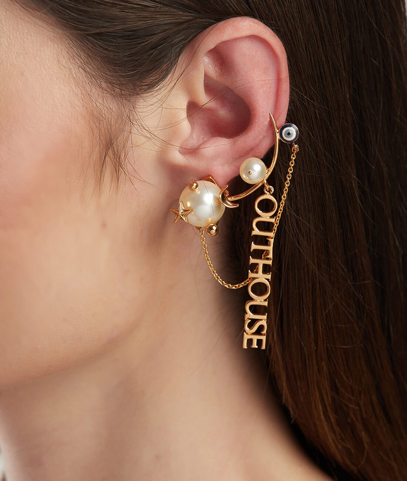 Gold plated ear cuff earrings
