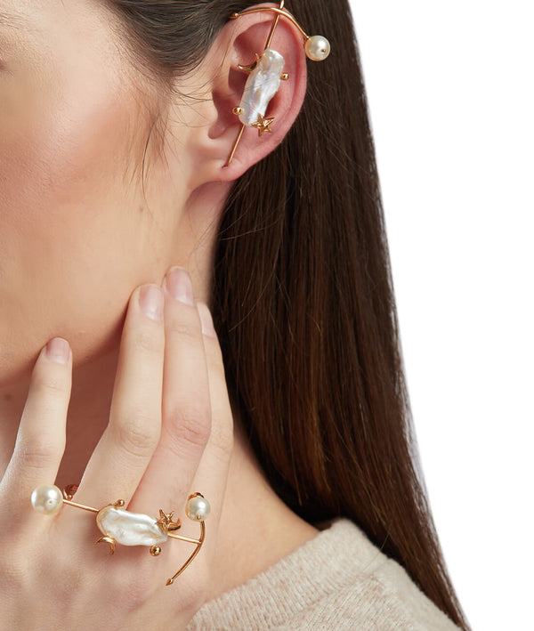 Gold plated pearls ear cuffs