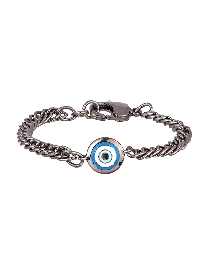 Gunmetal bracelets with evil eye