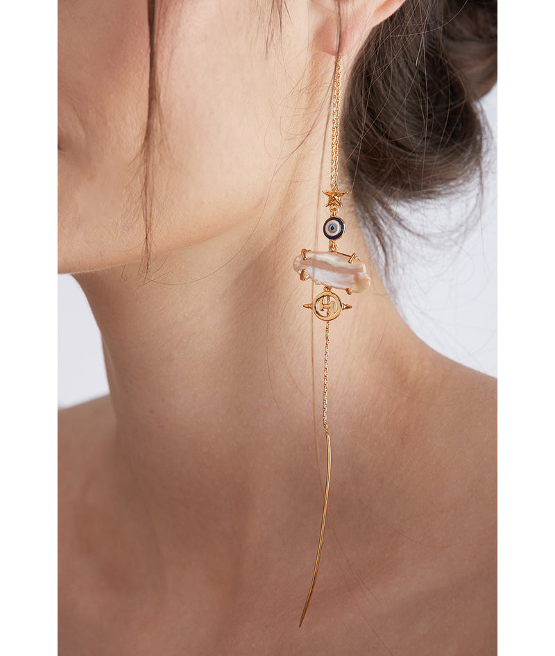 Long gold plated earrings