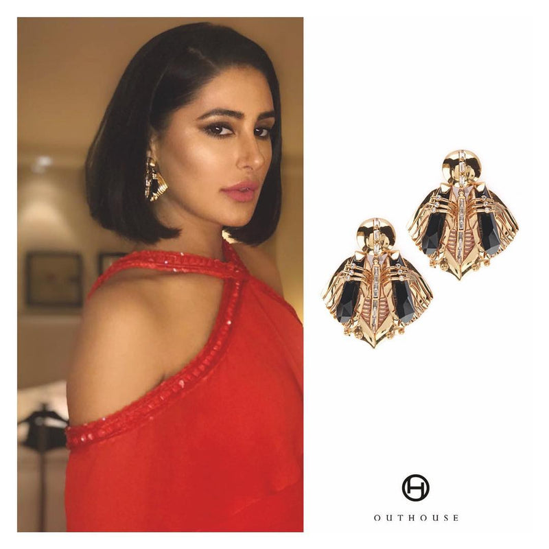 Nargis Fakhri Wearing Celebrity Jewellery Brands Chrysalis Gold Studs