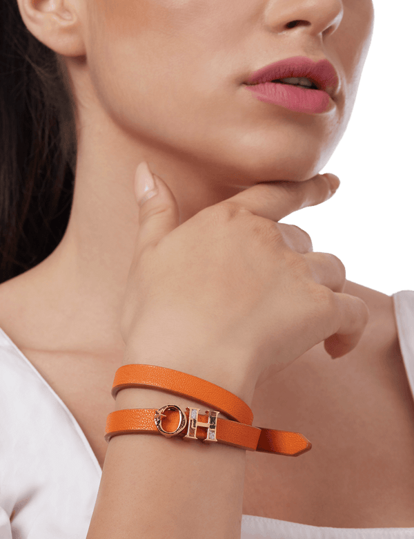 Orange luxury wraparound bracelet