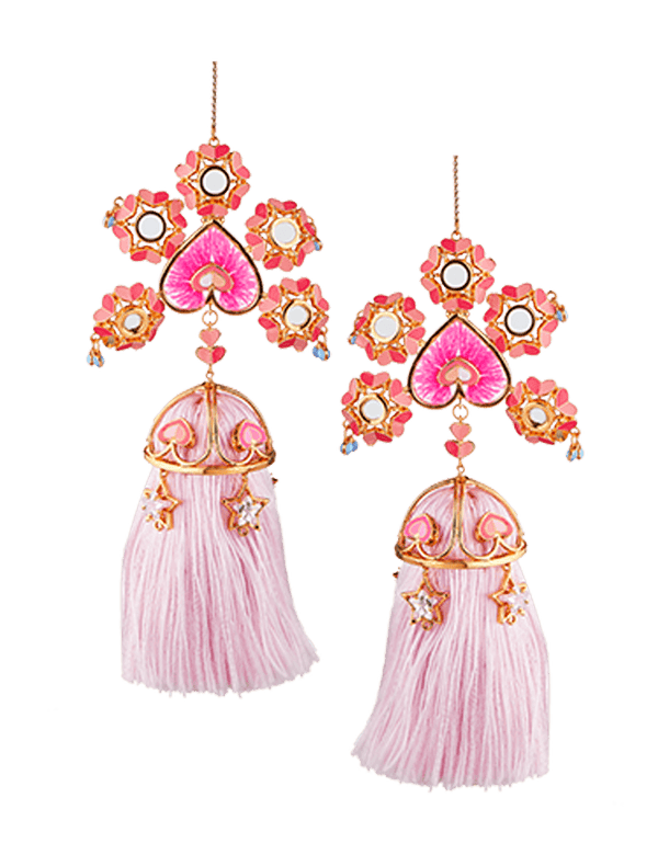Pink  Drop Earrings With Pink Tassels