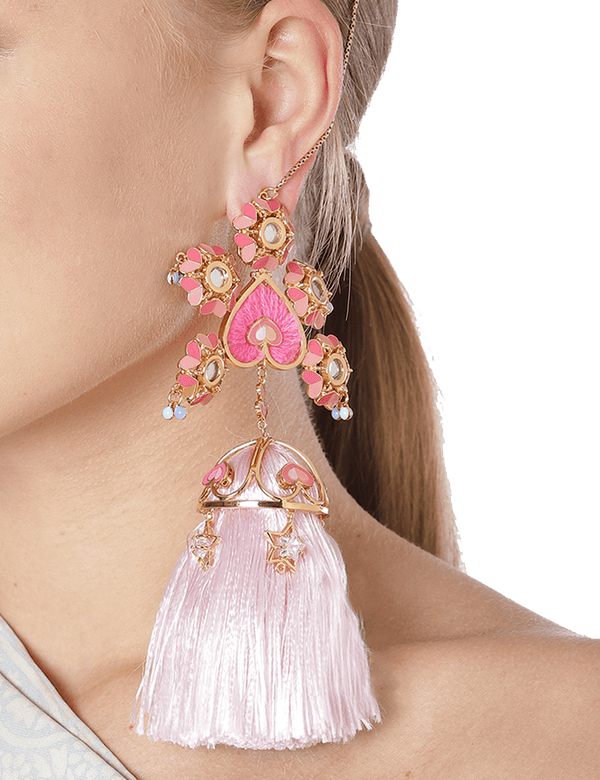 Pink  Drop Earrings With Pink Tassels Online