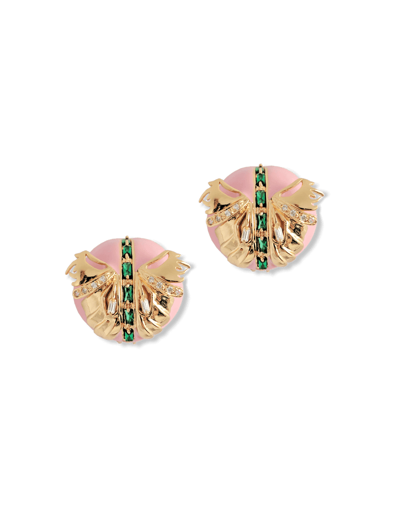 Designer pink stud earrings