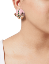 Pink stud earrings for women