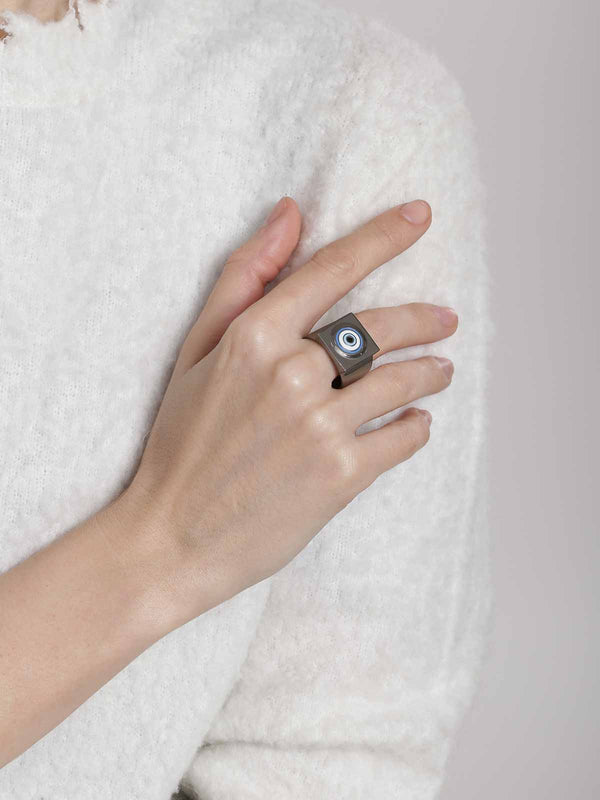 Designer ring in gunmetal