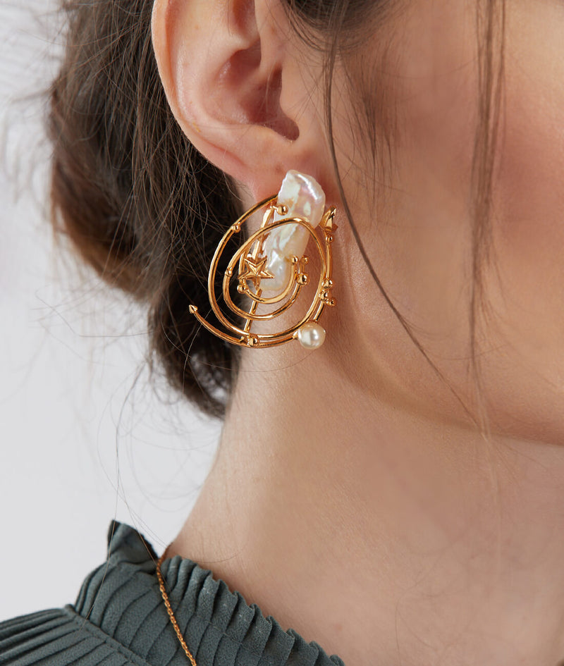 Spiral gold plated stud earrings