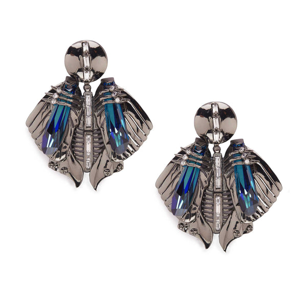 Designer stud earrings in gunmetal