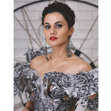 Taapsee Pannu wearing Enchanted Silvernight Long Earrings