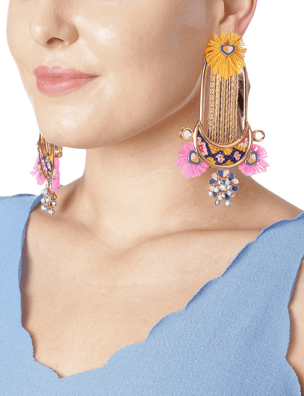 Tassel earrings in pink and yellow