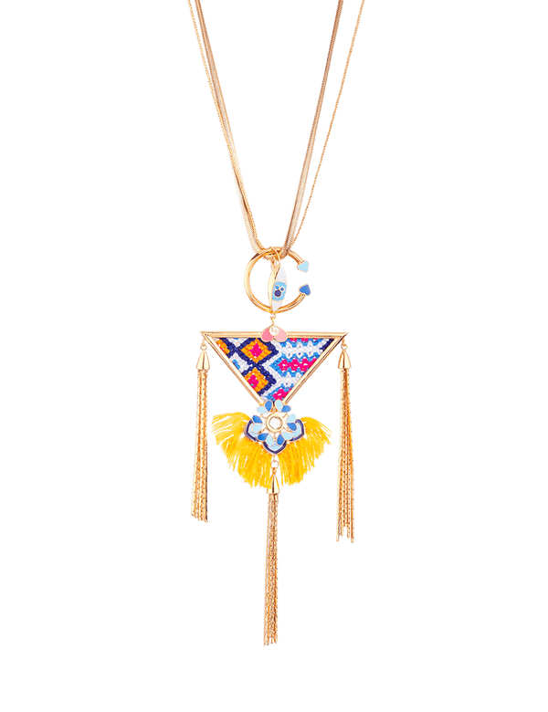 Tribal floral long neck chain pendant necklace