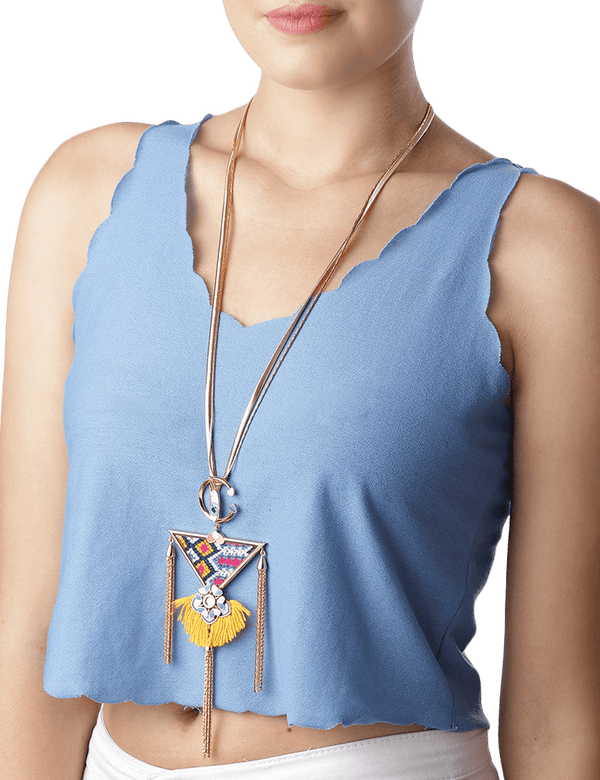 Tribal floral long necklace