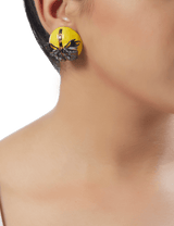 Yellow stud earrings in gold plating