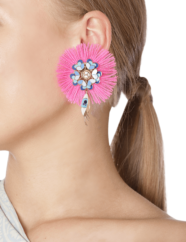 Bougainvillea Gypsy Evil Eye Stud Earrings