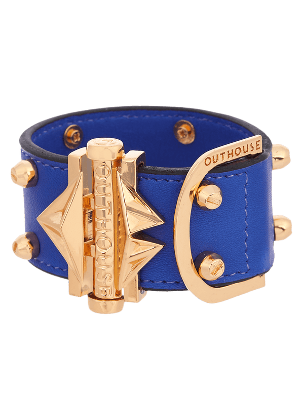 Gold plated bracelet with blue strap