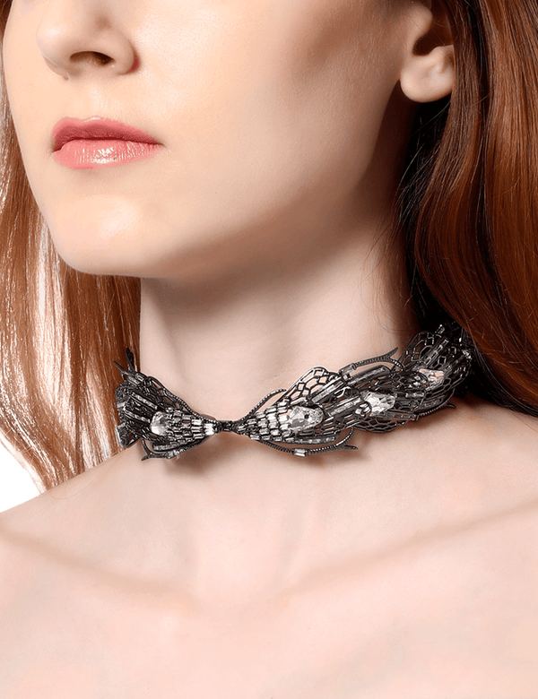 Gunmetal choker necklace for women