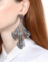 Gunmetal earrings with crystals