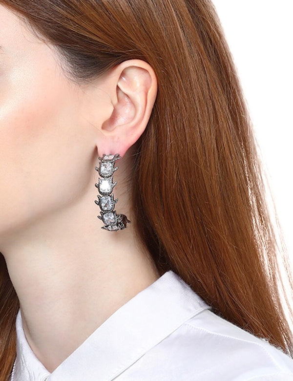 Gunmetal hoop earrings with crystals