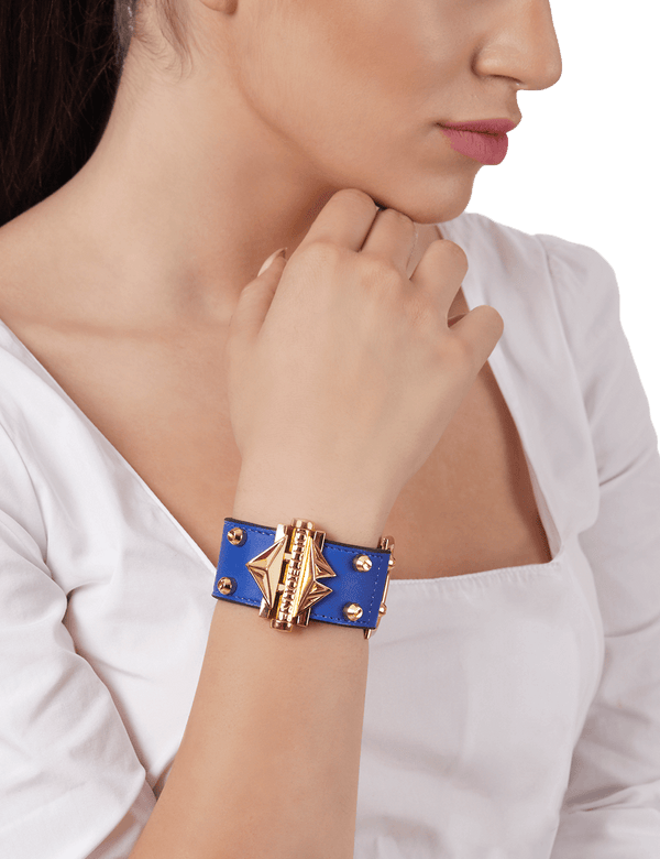 Navy blue bracelet with gold embellishments