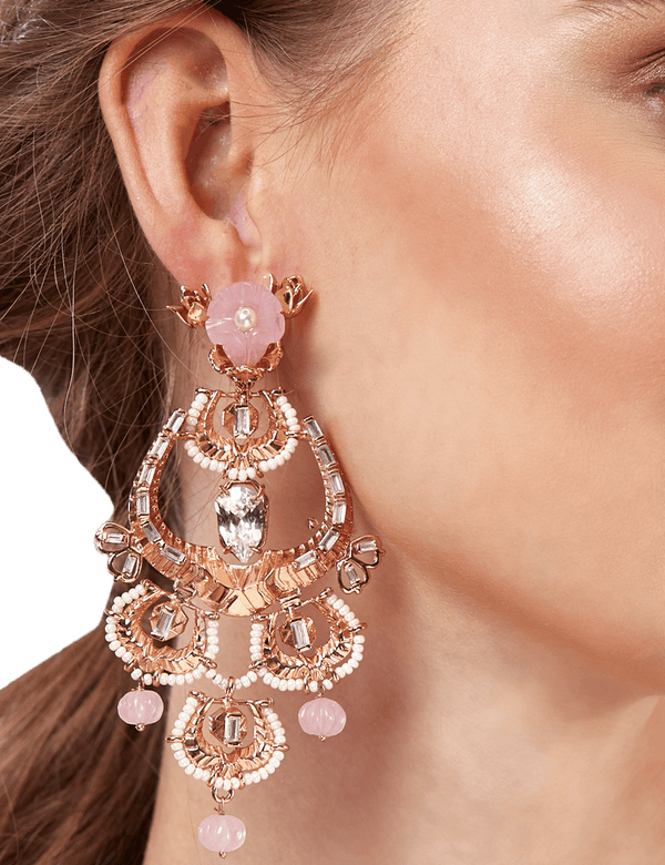 Party wear earrings rose gold