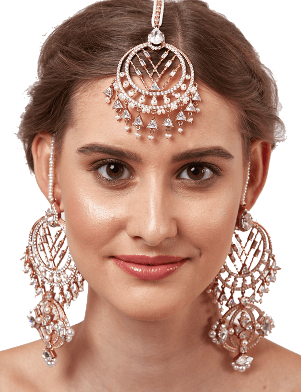 Rose gold bridal maang tikka