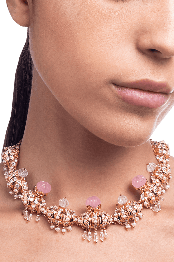 Rose gold choker with pink crystals